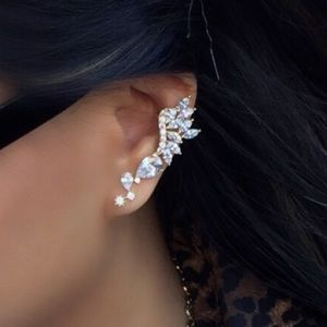 18K Ear Crawler & Stud Earrings
